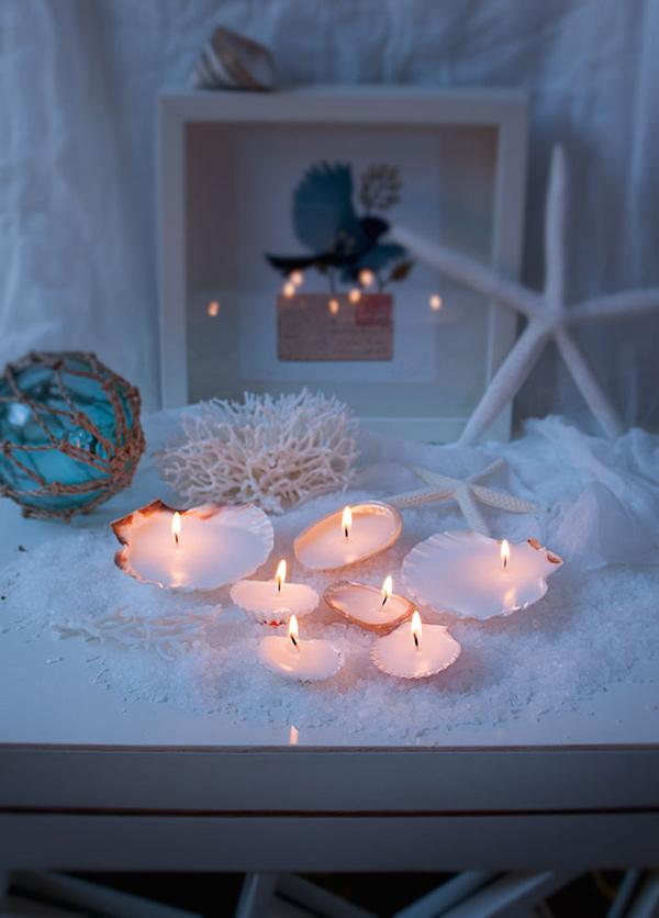 Decoração sem custos - Decoração sem custos - suportes para velas feitos de conchas