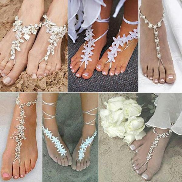Casamentos na praia - adereços para pés descalços