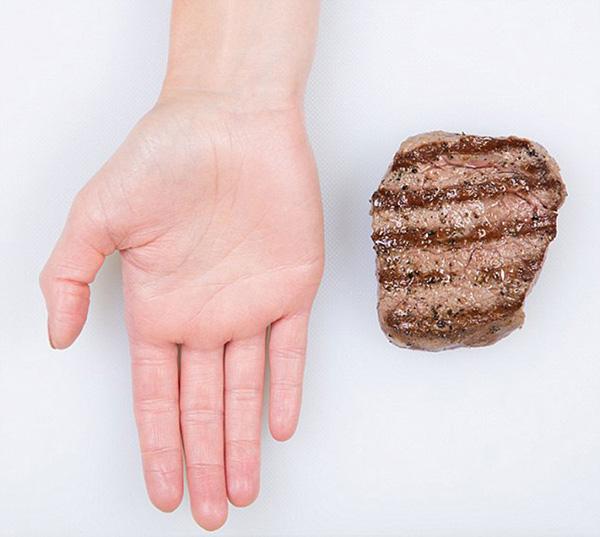 Nutrição - as quantidades ideais de cada alimento - mão aberta, dose de carne