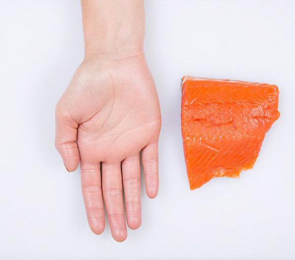 Nutrição - as quantidades ideais de cada alimento - palma da mão, dose de salmão