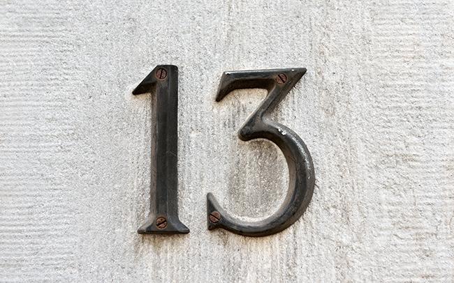 Superstições bem conhecidas - Número 13