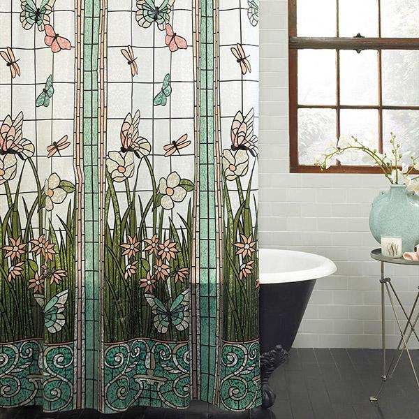 Tenha uma casa de banho mais bonita - cortinas de banho vitral