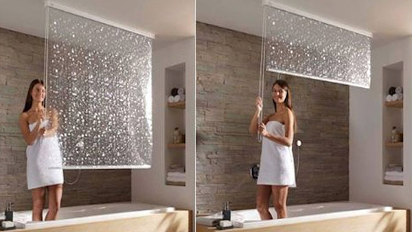 Tenha uma casa de banho mais bonita - cortinas de banho tipo persianas