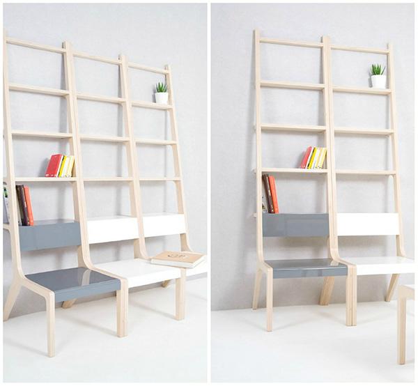 Estantes espectaculares - estante ligada a cadeiras
