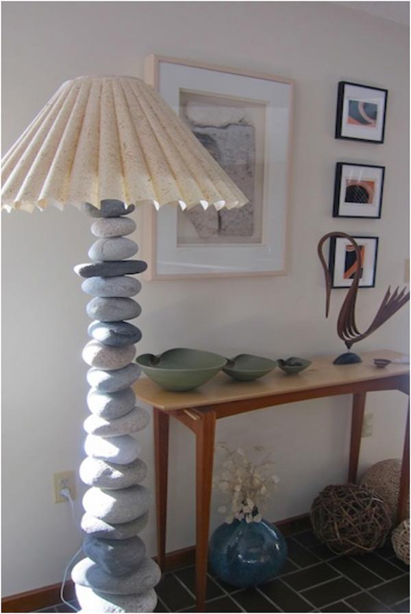 Decoração com Pedras e Seixos, 11 ideias sem custos - candeeiro