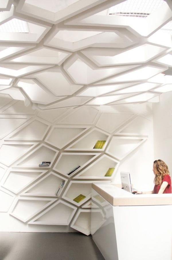 Estantes espectaculares - estante como extensão do teto