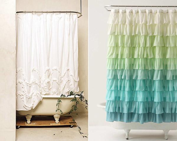Tenha uma casa de banho mais bonita - cortinas de banho drapeadas