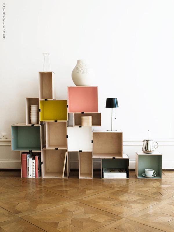 Estantes espectaculares - estante feita com caixas de arrumação