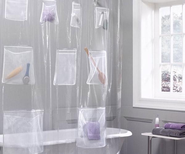 Tenha uma casa de banho mais bonita - cortina de banho com bolsas