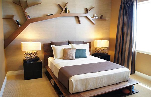 Estantes espectaculares - estante por cima da cama