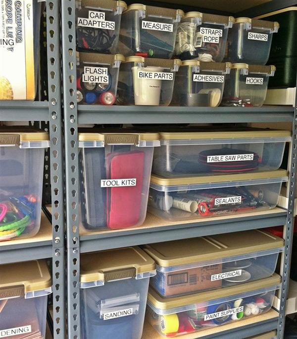 Garagens e arrecadações - dicas de arrumação: etiquetas