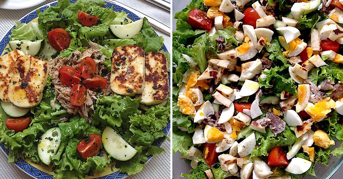 2 saladas muito frescas e saudáveis