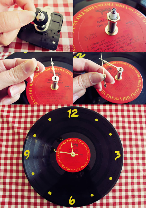Ideias para reciclar discos de vinil - relógio