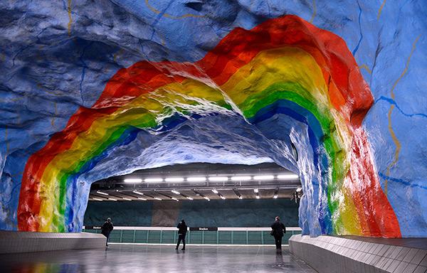 As mais belas estações do mundo - Estação de metro Stadion, Estocolmo – Suécia