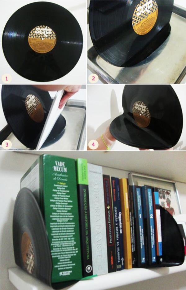 Ideias para reciclar discos de vinil - trava livros