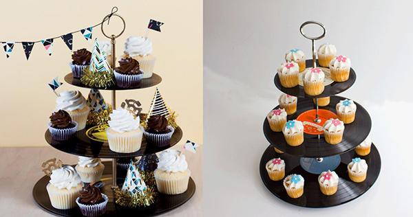 Ideias para reciclar discos de vinil - suporte para bolos