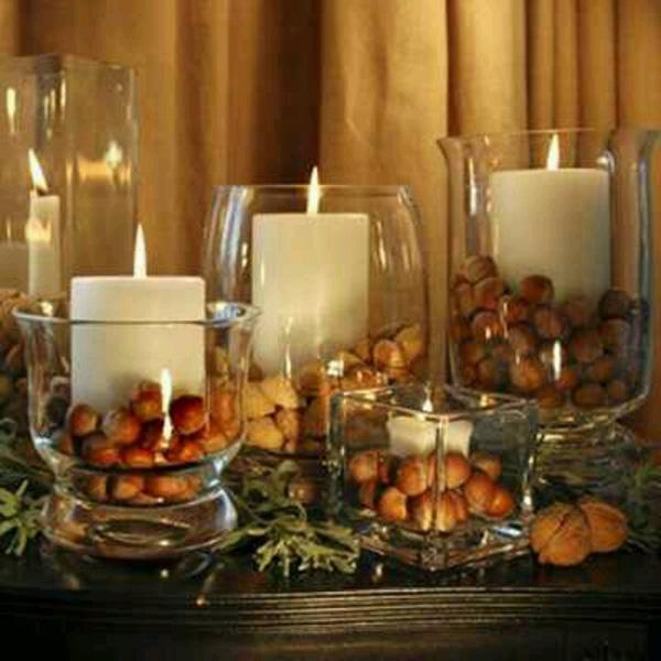 Decoração de Outono, dicas úteis - faça centros de mesa com frutos secos ou pinhas