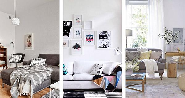 Decoração com mantas e almofadas - sala