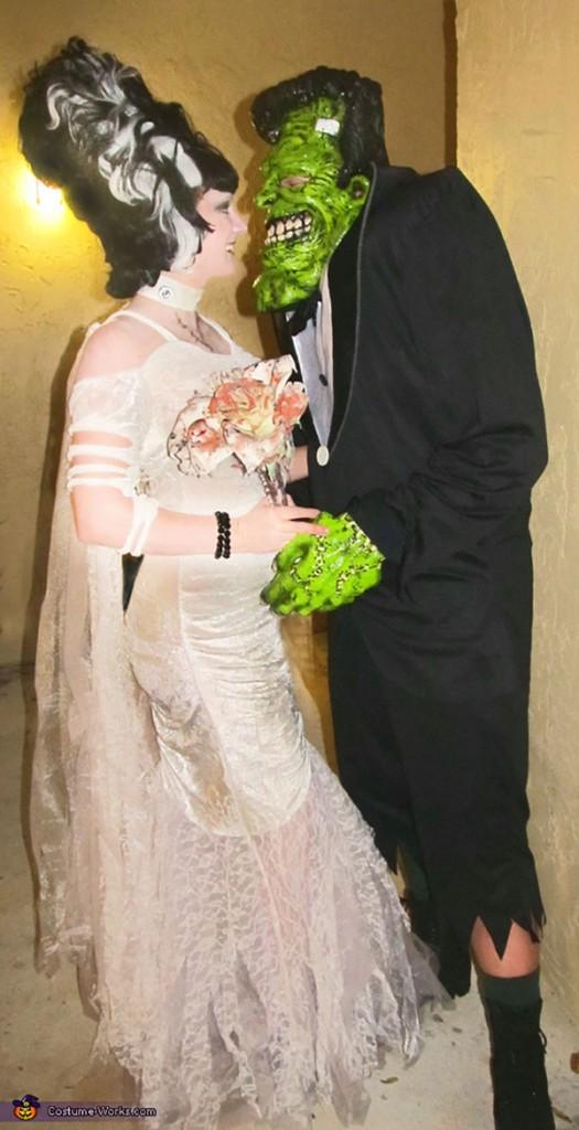 Disfarces de Halloween muito divertidos e assustadores - Frankenstein e a noiva