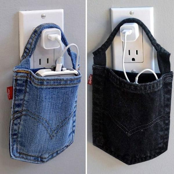 Reciclar calças de ganga - suporte para telemóveis feito com bolsos