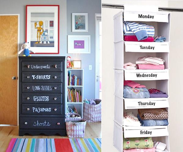 Quartos mais arrumados e organizados - escreva os dias da semana nas gavetas do roupeiro