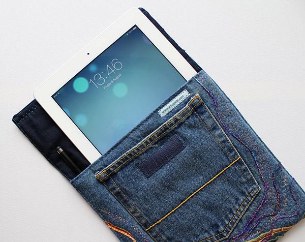 Reciclar calças de ganga - capa para tablet