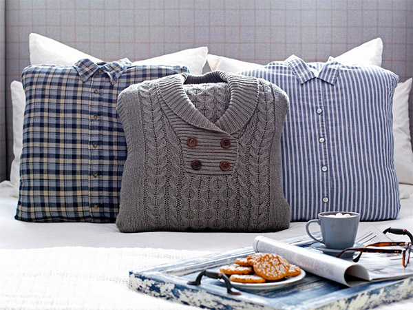 Dê uma nova vida às roupas velhas - almofadas giríssimas