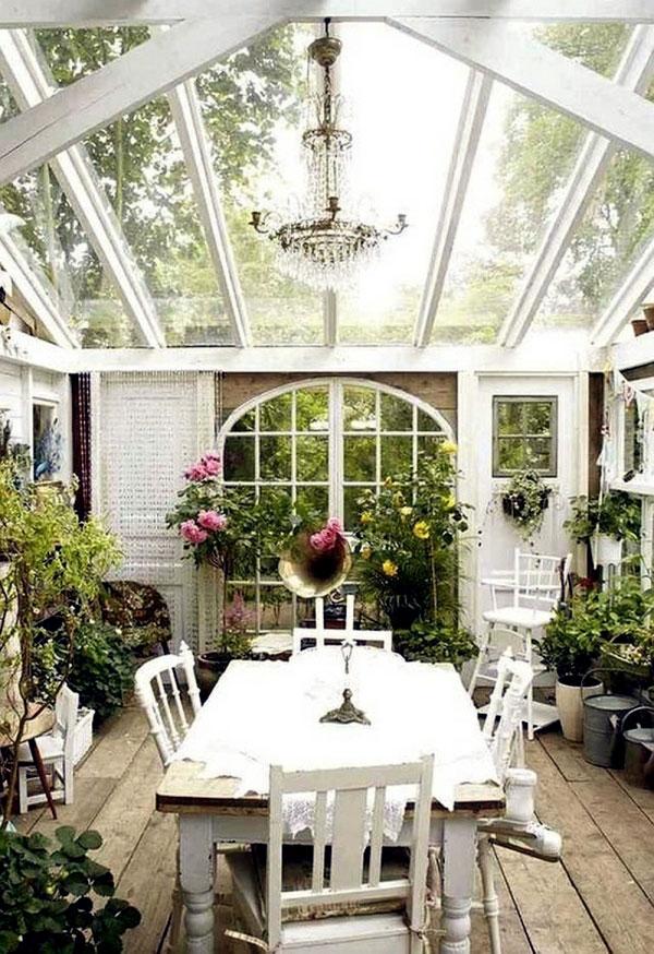 Jardins interiores - estufa envidraçada