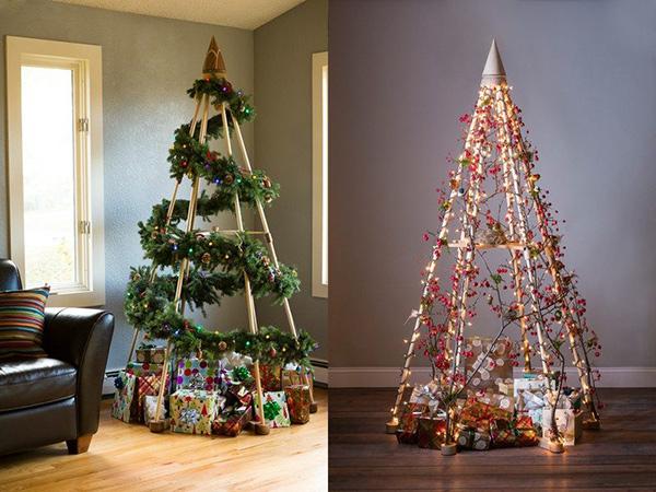 Árvores de Natal diferentes - 8 sugestões ecológicas - Com estacas de madeira
