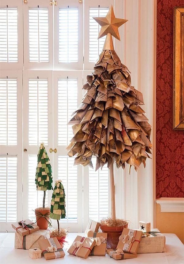 Árvores de Natal diferentes - 8 sugestões ecológicas - Com folhas de jornais