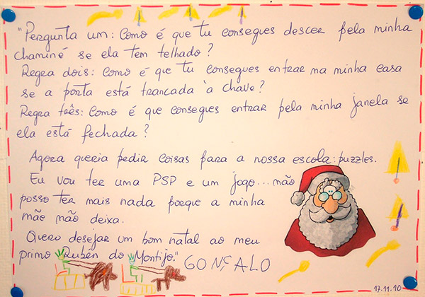 Cartas para o Pai Natal cómicas e ternurentas- Carta interrogatório