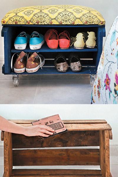 9 sapateiras para todos os gostos e carteiras - Recicle uma caixa de madeira