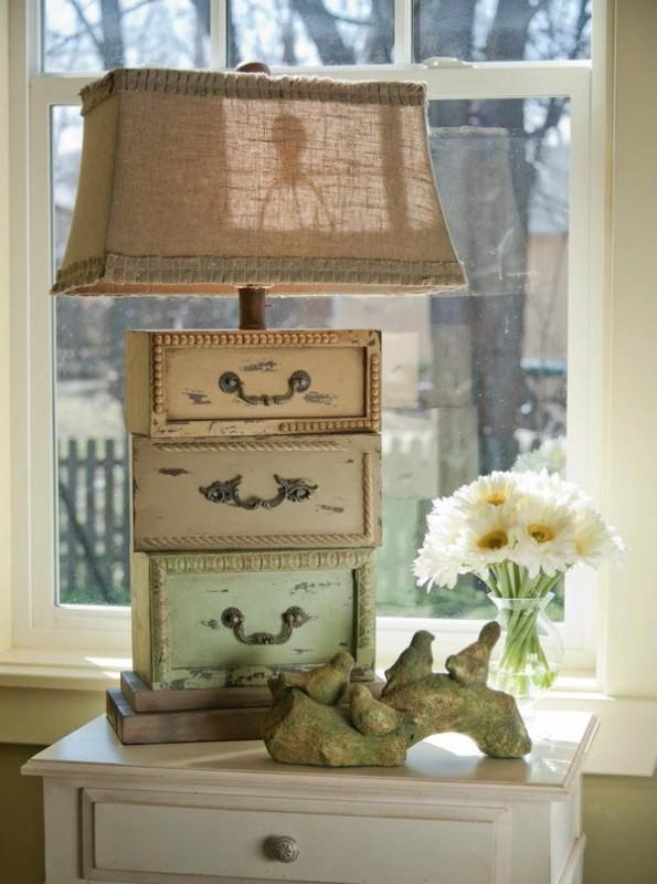 Gavetas antigas - 10 ideias de decoração - Faça um abajur original