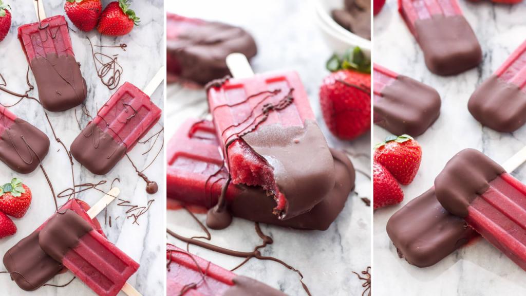 Receita de gelados de fruta com chocolate