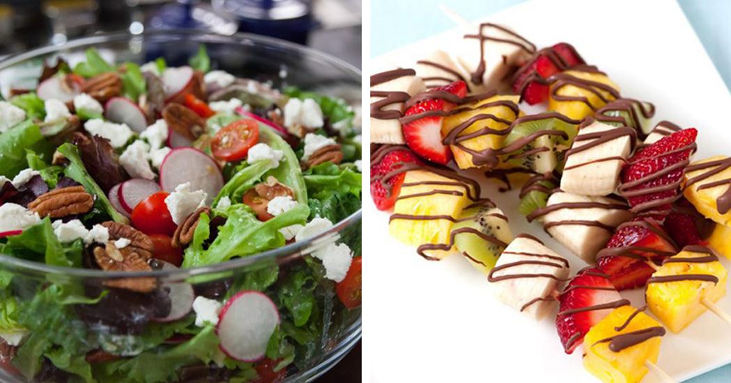 Salada fresca e saudável + espetadas de fruta com chocolate negro