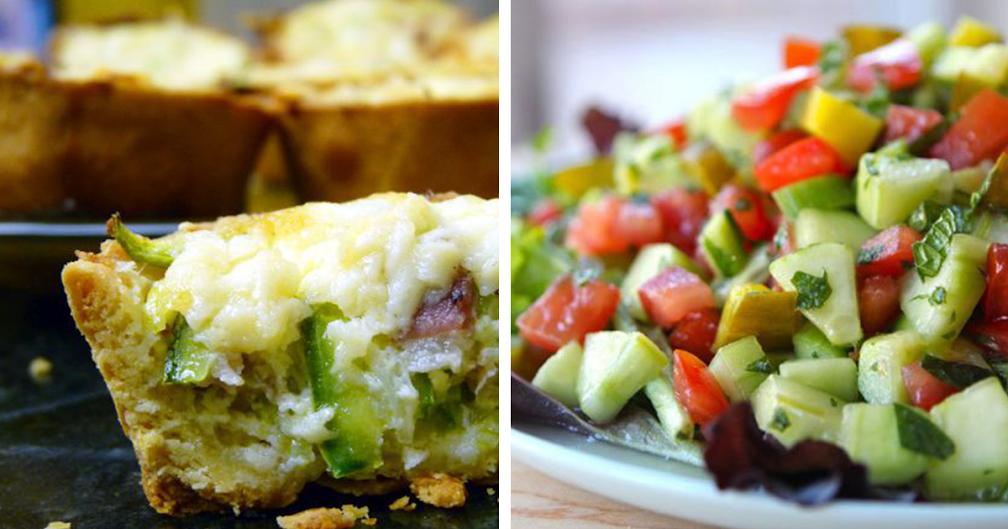 Mini quiches de frango saudáveis e salada fresca de pepino