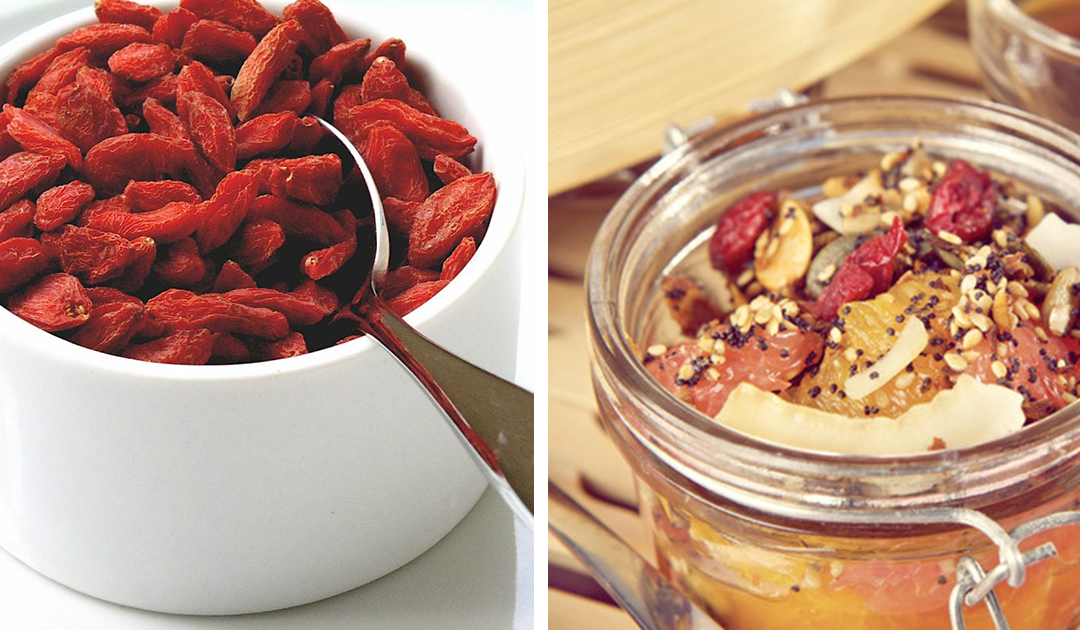 Receita de mousse de fruta com sementes de goji e girassol