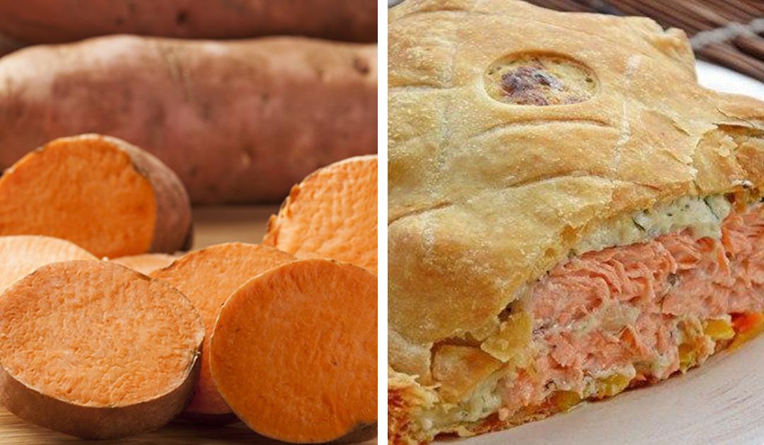 Empadão de salmão e batata doce
