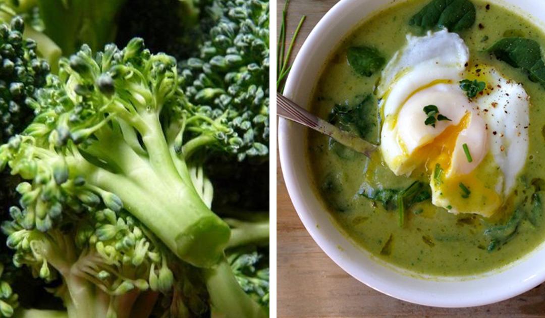 Receita de sopa de brócolos, feijão e ovo escalfado