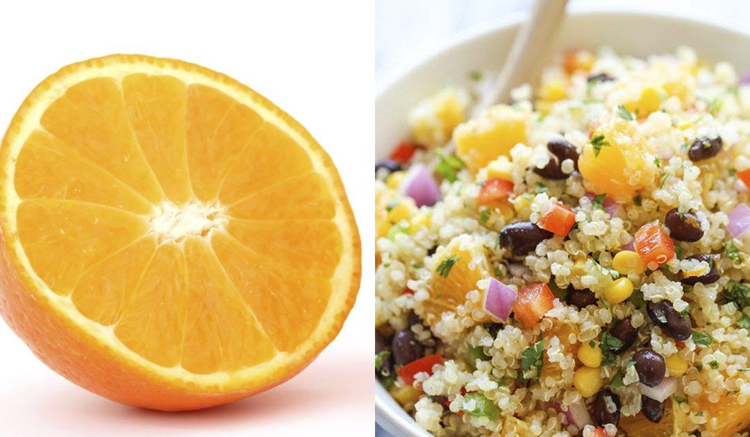 Receita de salada de feijão preto com laranja e quinoa