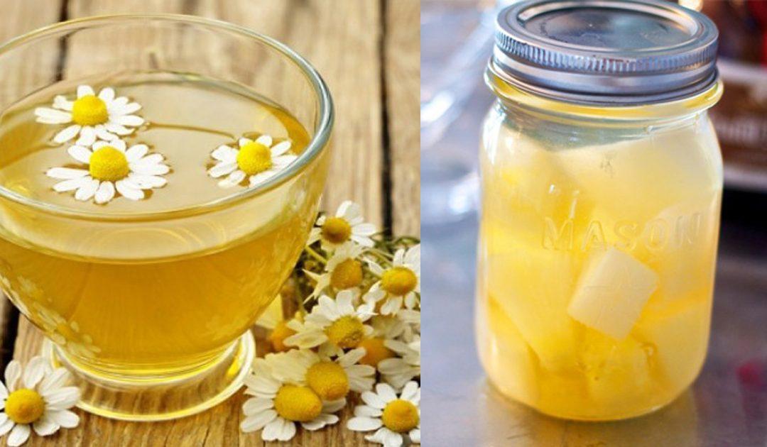 Chá frio de camomila e abacaxi, refrescante e saboroso