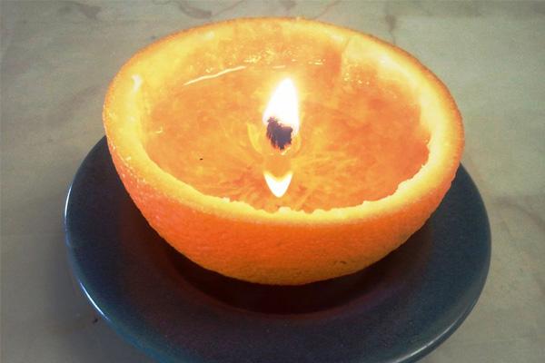 Como fazer ambientadores em casa sem gastar muito dinheiro- Vela natural de casca de laranja