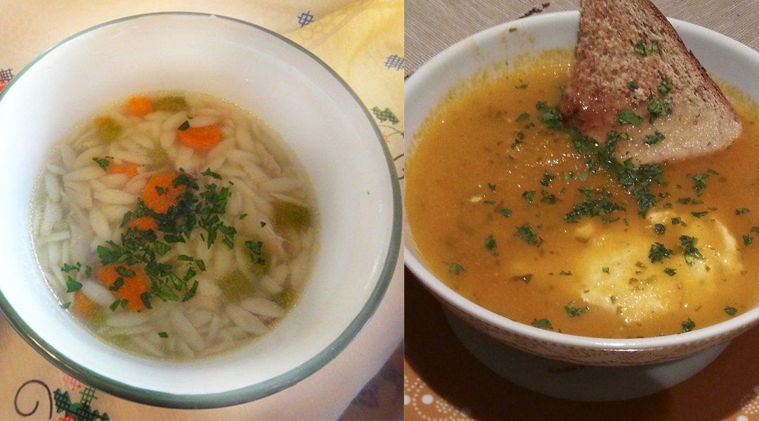 Canja de galinha + sopa de tomate com ovos escalfados, 2 receitas saudáveis