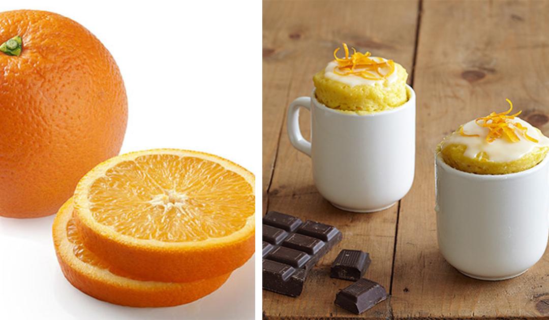Receita de bolo delicioso de cacau e laranja na caneca